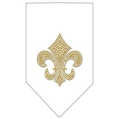 Mirage Pet Products Fleur De Lis Gold Rhinestone Bandana White Large