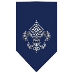 Mirage Pet Products Mardi Gras Fleur De Lis Rhinestone Bandana Navy Blue Small