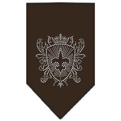 Mirage Pet Products Fleur De Lis Shield Rhinestone Bandana Cocoa Large
