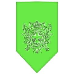 Mirage Pet Products Fleur De Lis Shield Rhinestone Bandana Lime Green Large