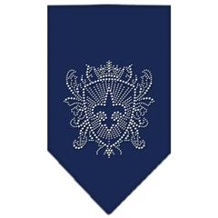 Mirage Pet Products Fleur De Lis Shield Rhinestone Bandana Navy Blue Small