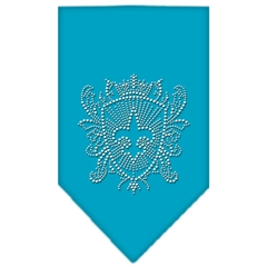 Mirage Pet Products Fleur De Lis Shield Rhinestone Bandana Turquoise Small