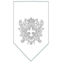 Mirage Pet Products Fleur De Lis Shield Rhinestone Bandana White Small