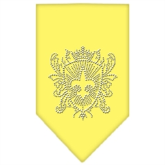 Mirage Pet Products Fleur De Lis Shield Rhinestone Bandana Yellow Large