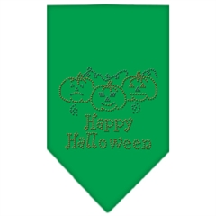 Mirage Pet Products Happy Halloween Rhinestone Bandana Emerald Green Small