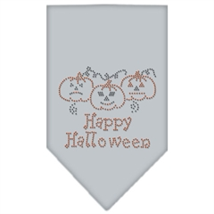 Mirage Pet Products Happy Halloween Rhinestone Bandana Grey Large