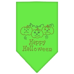Mirage Pet Products Happy Halloween Rhinestone Bandana Lime Green Large