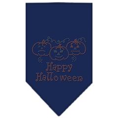 Mirage Pet Products Happy Halloween Rhinestone Bandana Navy Blue large
