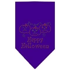 Mirage Pet Products Happy Halloween Rhinestone Bandana Purple Large