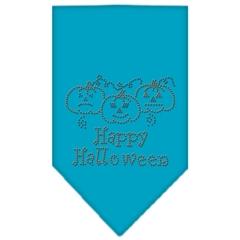 Mirage Pet Products Happy Halloween Rhinestone Bandana Turquoise Large