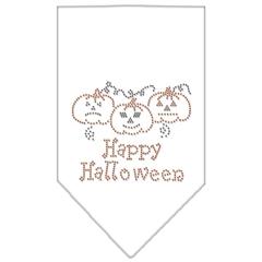 Mirage Pet Products Happy Halloween Rhinestone Bandana White Small