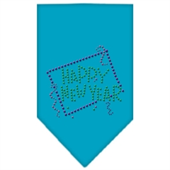 Mirage Pet Products Happy New Year Rhinestone Bandana Turquoise Large