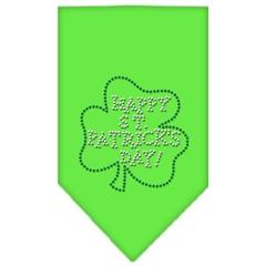 Mirage Pet Products Happy St. Patricks Day Rhinestone Bandana Lime Green Small