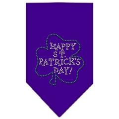 Mirage Pet Products Happy St. Patricks Day Rhinestone Bandana Purple Small