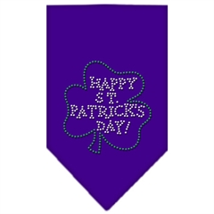 Mirage Pet Products Happy St. Patricks Day Rhinestone Bandana Purple Large