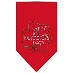 Mirage Pet Products Happy St. Patricks Day Rhinestone Bandana Red Large