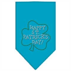 Mirage Pet Products Happy St. Patricks Day Rhinestone Bandana Turquoise Small
