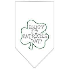 Mirage Pet Products Happy St. Patricks Day Rhinestone Bandana White Large