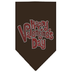 Mirage Pet Products Happy Valentines Day Rhinestone Bandana Brown Large