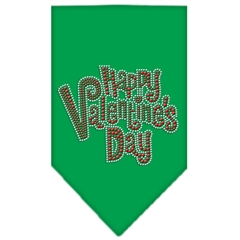 Mirage Pet Products Happy Valentines Day Rhinestone Bandana Emerald Green Large
