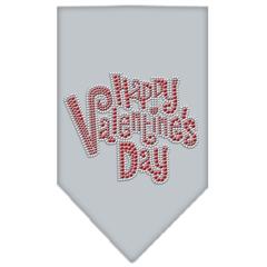 Mirage Pet Products Happy Valentines Day Rhinestone Bandana Grey Large