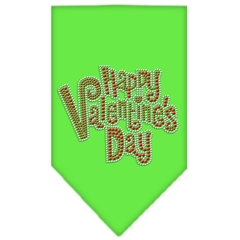 Mirage Pet Products Happy Valentines Day Rhinestone Bandana Lime Green Large