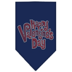 Mirage Pet Products Happy Valentines Day Rhinestone Bandana Navy Blue large