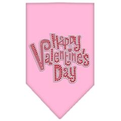 Mirage Pet Products Happy Valentines Day Rhinestone Bandana Light Pink Large
