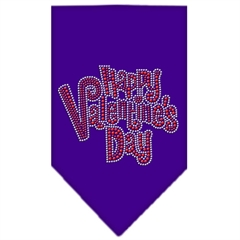 Mirage Pet Products Happy Valentines Day Rhinestone Bandana Purple Large