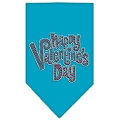 Mirage Pet Products Happy Valentines Day Rhinestone Bandana Turquoise Large