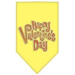 Mirage Pet Products Happy Valentines Day Rhinestone Bandana Yellow Large