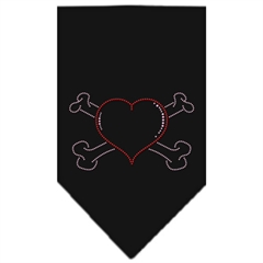 Mirage Pet Products Heart Crossbone Rhinestone Bandana Black Small