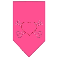Mirage Pet Products Heart Crossbone Rhinestone Bandana Bright Pink Small