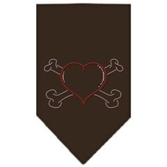 Mirage Pet Products Heart Crossbone Rhinestone Bandana Cocoa Large