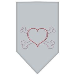 Mirage Pet Products Heart Crossbone Rhinestone Bandana Grey Large