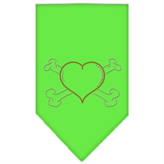 Mirage Pet Products Heart Crossbone Rhinestone Bandana Lime Green Large