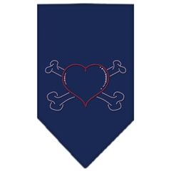 Mirage Pet Products Heart Crossbone Rhinestone Bandana Navy Blue large