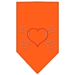 Mirage Pet Products Heart Crossbone Rhinestone Bandana Orange Small