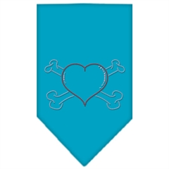 Mirage Pet Products Heart Crossbone Rhinestone Bandana Turquoise Small