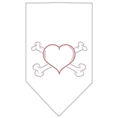 Mirage Pet Products Heart Crossbone Rhinestone Bandana White Small