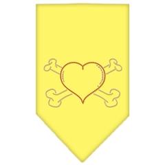 Mirage Pet Products Heart Crossbone Rhinestone Bandana Yellow Large