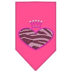 Mirage Pet Products Zebra Heart Rhinestone Bandana Bright Pink Large