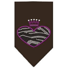 Mirage Pet Products Zebra Heart Rhinestone Bandana Brown Small