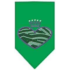 Mirage Pet Products Zebra Heart Rhinestone Bandana Emerald Green Large