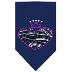 Mirage Pet Products Zebra Heart Rhinestone Bandana Navy Blue large
