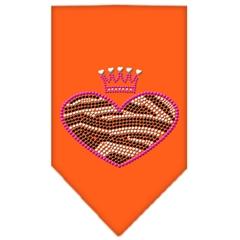 Mirage Pet Products Zebra Heart Rhinestone Bandana Orange Large