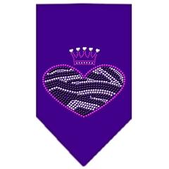 Mirage Pet Products Zebra Heart Rhinestone Bandana Purple Large