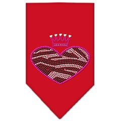 Mirage Pet Products Zebra Heart Rhinestone Bandana Red Small