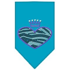 Mirage Pet Products Zebra Heart Rhinestone Bandana Turquoise Small
