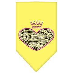 Mirage Pet Products Zebra Heart Rhinestone Bandana Yellow Large